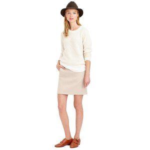 New J CREW Beige Double Serge Wool Mini Skirt 2